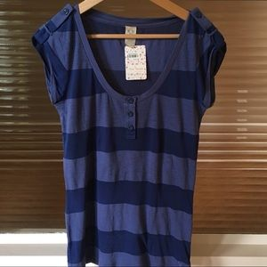 Free People Striped Military Tee FIRM price